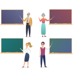 Young man woman senior male and female teachers vector