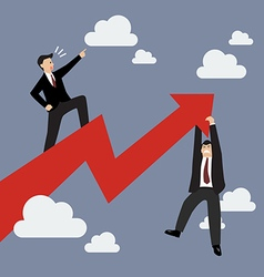 Businessman standing on a growing graph with vector image