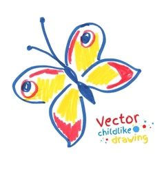 Childlike drawing of butterfly vector image vector image