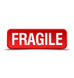 Fragile red 3d square button isolated on white vector image