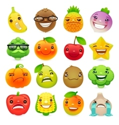 Funny Cartoon Fruits and Vegetables with Different vector image