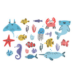 sea life set hand drawn algae blowfish vector image vector image