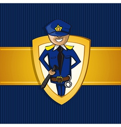 Service police officer man cartoon shield symbol vector image vector image