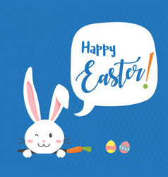 happy easter bunny with carrot white bunny vector image