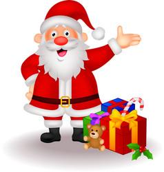 Santa cartoon with gifts vector image