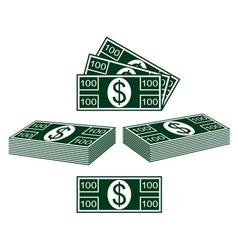Set of dollars vector image vector image