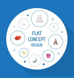 Flat icons present building pigeon and other vector