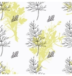 Hand drawn dill branch and handwritten sign Spicy vector image
