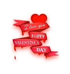 Happy valentine day Heart with ribbon vector image