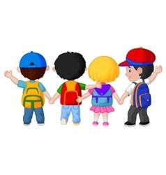 Happy young children cartoon walking together vector image