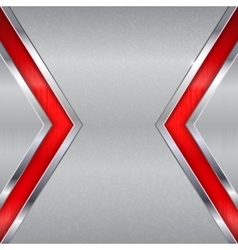 Metal background Brushed texture with red section vector image