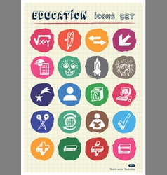 School and education web icons set drawn by chalk vector image