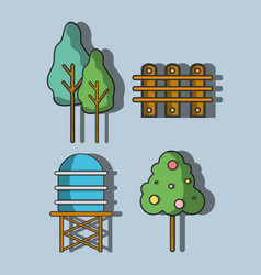 Water tank with trees and grid wood vector