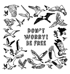 Birds card be free black and white vector image vector image