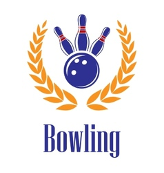 Bowling elements in laurel wreath vector image vector image