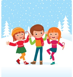 Children are happy winter day vector image
