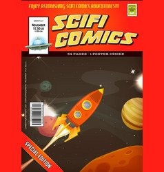 comic scifi book cover template vector image vector image