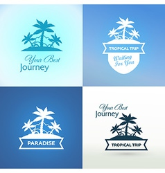 Emblems with Tropical Island vector image vector image