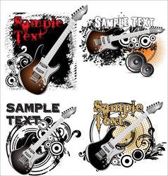 Grunge music banner - set vector image vector image