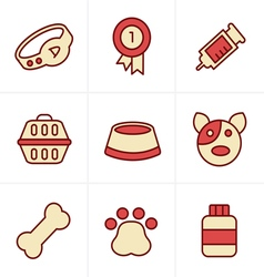 Icons Style Dog Icons Set Design vector image