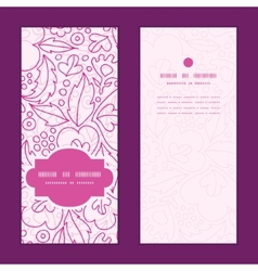 pink flowers lineart vertical frame pattern vector image