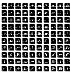 100 mobile icons set grunge style vector