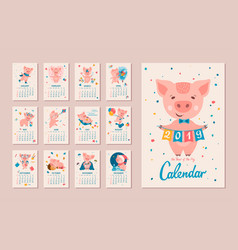 2019 year of the pig calendar vector
