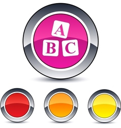 abc cubes round button vector image