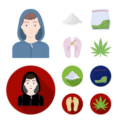 Addict cocaine marijuana corpsedrug set vector