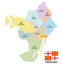 Administrative and political map barcelona vector