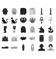 Ancient egypt blackmonochrome icons in set vector