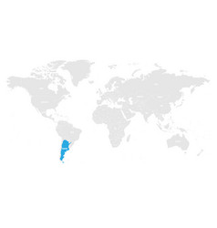 argentina marked by blue in grey world political vector image