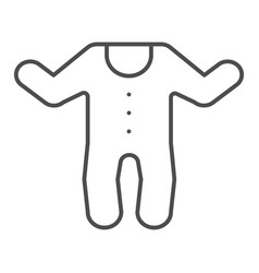 Baby jumpsuit thin line icon child s overalls vector