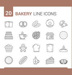 bakery line icons vector image