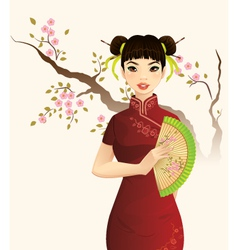 Beautiful Chinese Girl vector