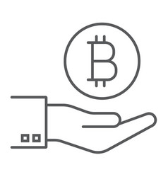 bitcoin on hand thin line icon finance and money vector image