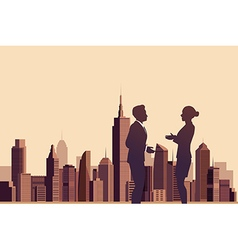 Business people talking with a city background vector image