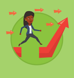 Business woman jumping over gap on arrow going up vector