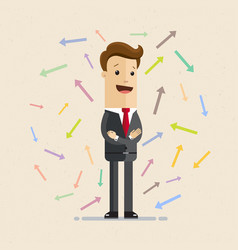 businessman and arrows flat vector image