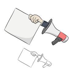 Businessman in megaphone holding blank paper vector