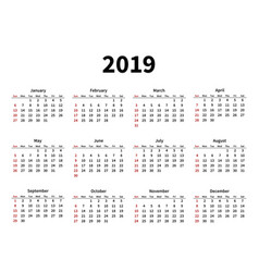 Calendar layout for 2019 year on white background vector