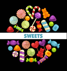 candies and caramel sweets poster for vector image