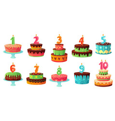 cartoon birthday cake numbers candle anniversary vector image