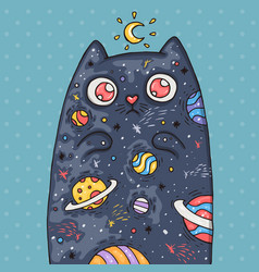 Cartoon cute cat with the universe inside cartoon vector