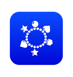 Charm bracelet icon blue vector