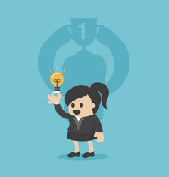 cheerful businesswoman fwith the trophy cup vector image