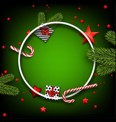 christmas background with fir branches and stars vector image