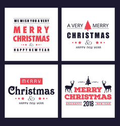 christmas card with simple typographic vector image