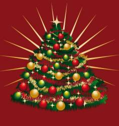 Christmas-tree with tinsels and bowls vector image