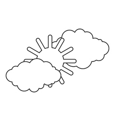 Clouds and sun icon outline style vector
